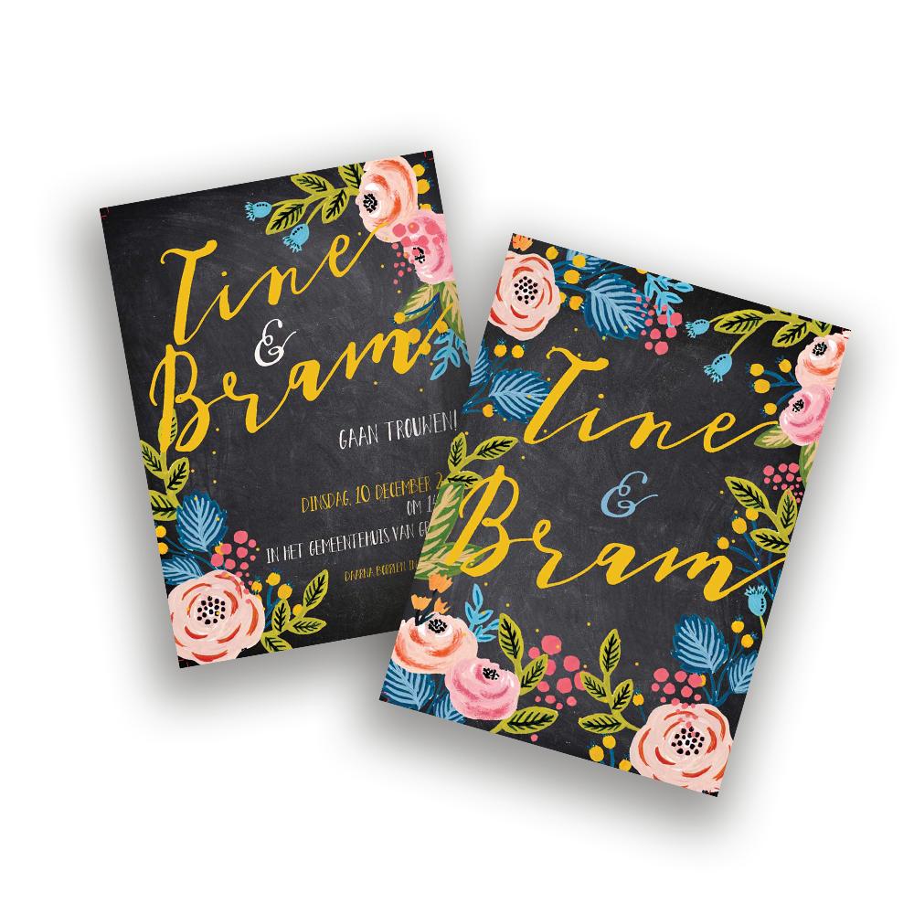 trouwkaart-schoolbord-bloemen
